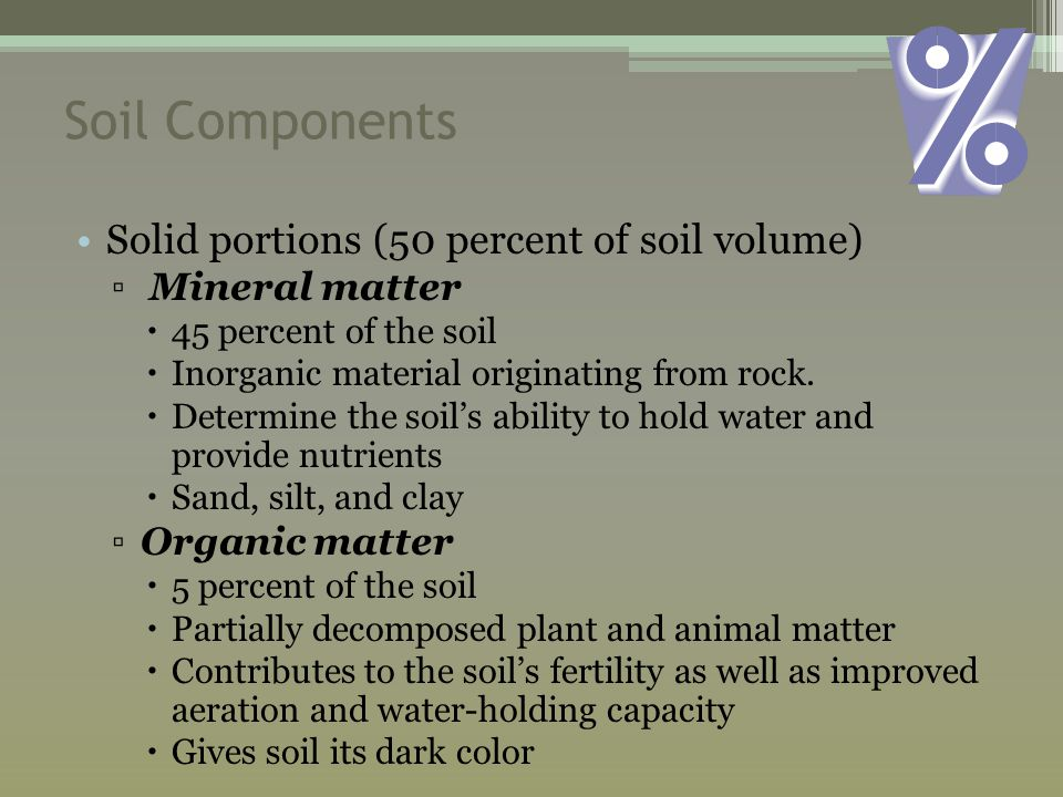 Soil Components Solid portions (50 percent of soil volume) ▫ Mineral matter  45 percent of the soil  Inorganic material originating from rock.