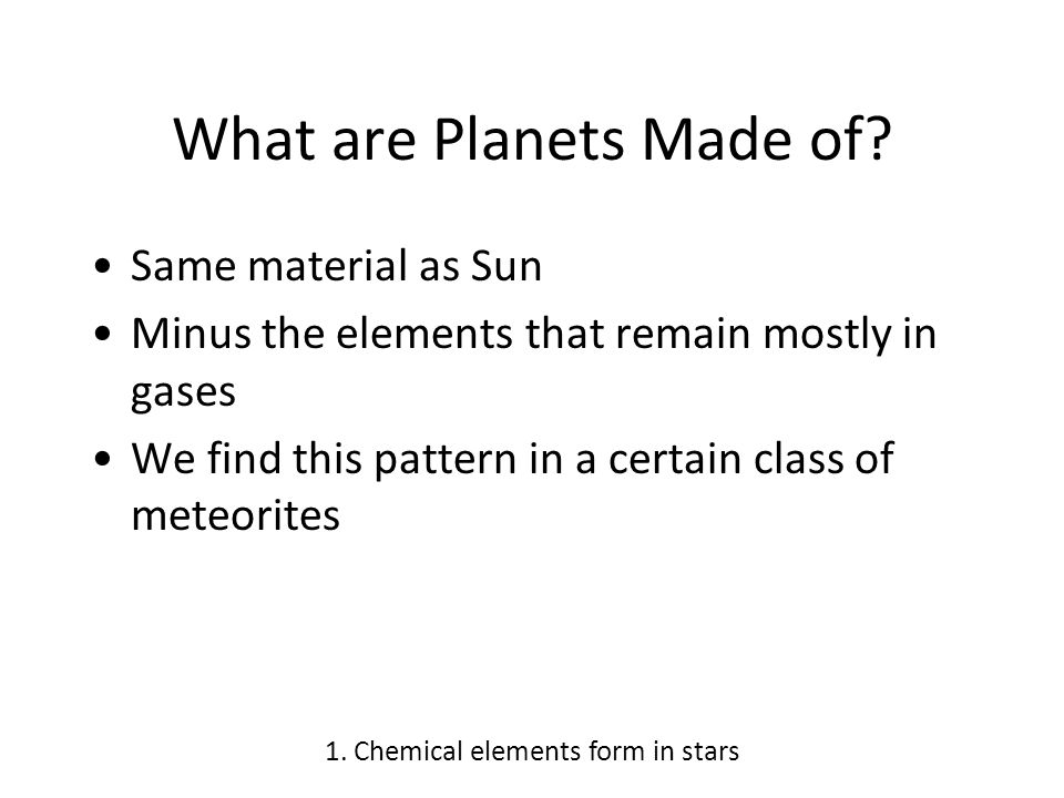 Chondrites 1. Chemical elements form in stars