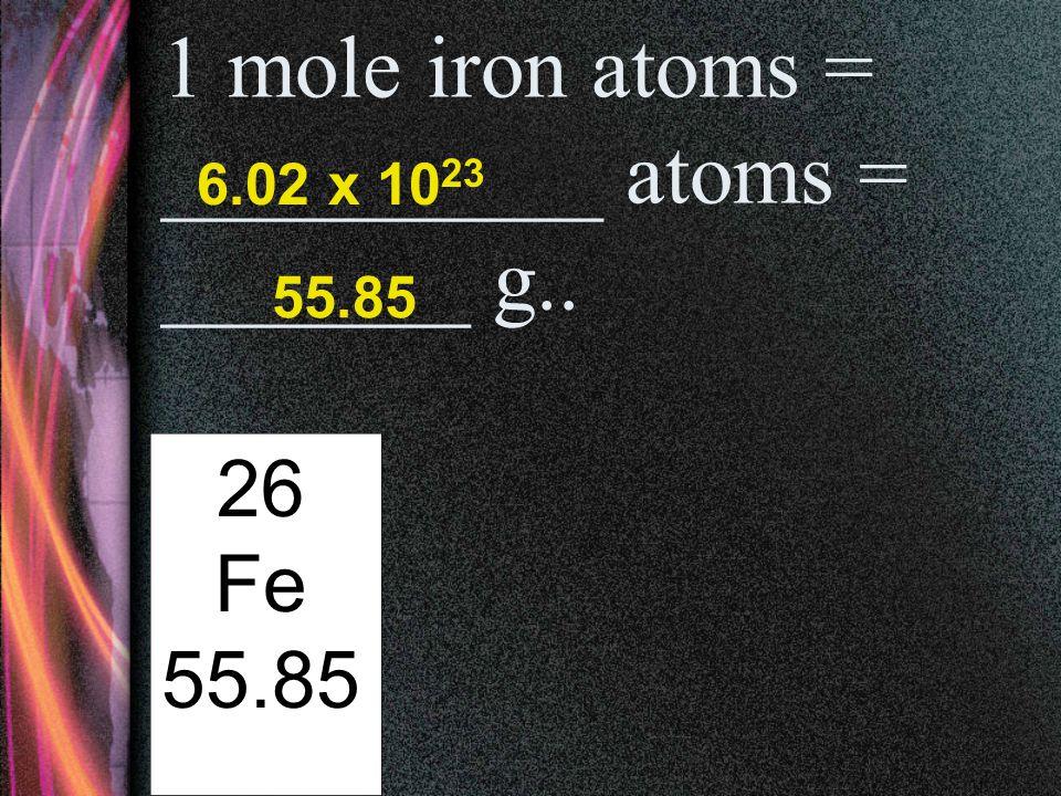 1 mole helium atoms = __________ atoms = _______ g.. 2 He 4.00 6.02 x 10 23