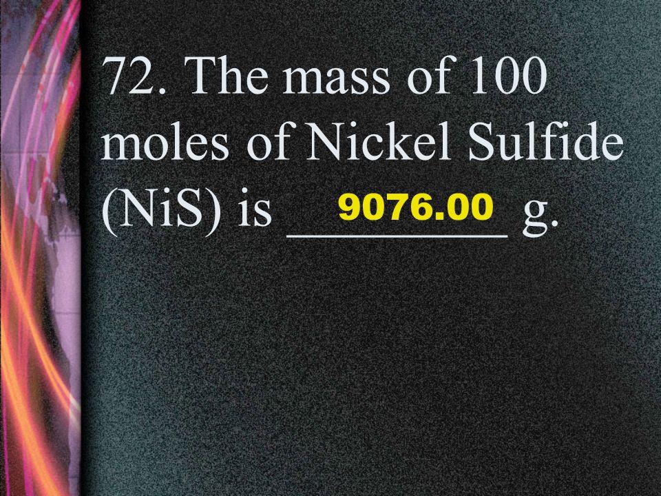 71. The molar mass of 1 mole of Lead Iodide (PbI 2 ) is _____ g. 461.0