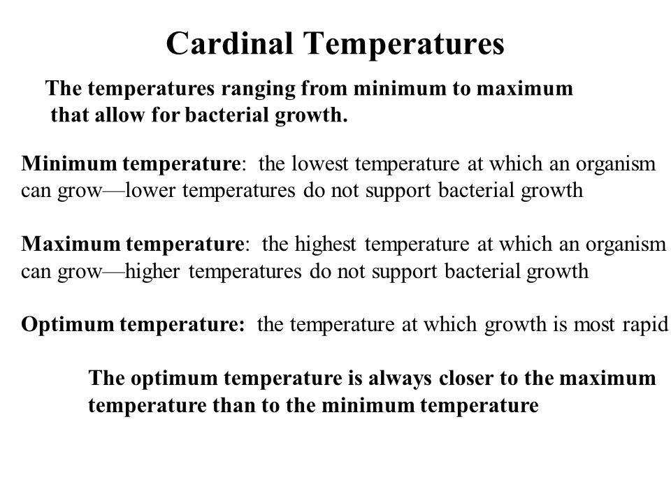 Cardinal Temperatures The temperatures ranging from minimum to maximum that allow for bacterial growth. Minimum temperature: the lowest temperature at