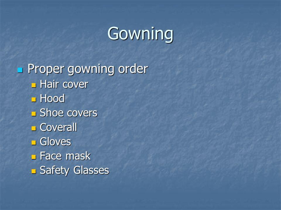Gowning Proper gowning order Proper gowning order Hair cover Hair cover Hood Hood Shoe covers Shoe covers Coverall Coverall Gloves Gloves Face mask Face mask Safety Glasses Safety Glasses
