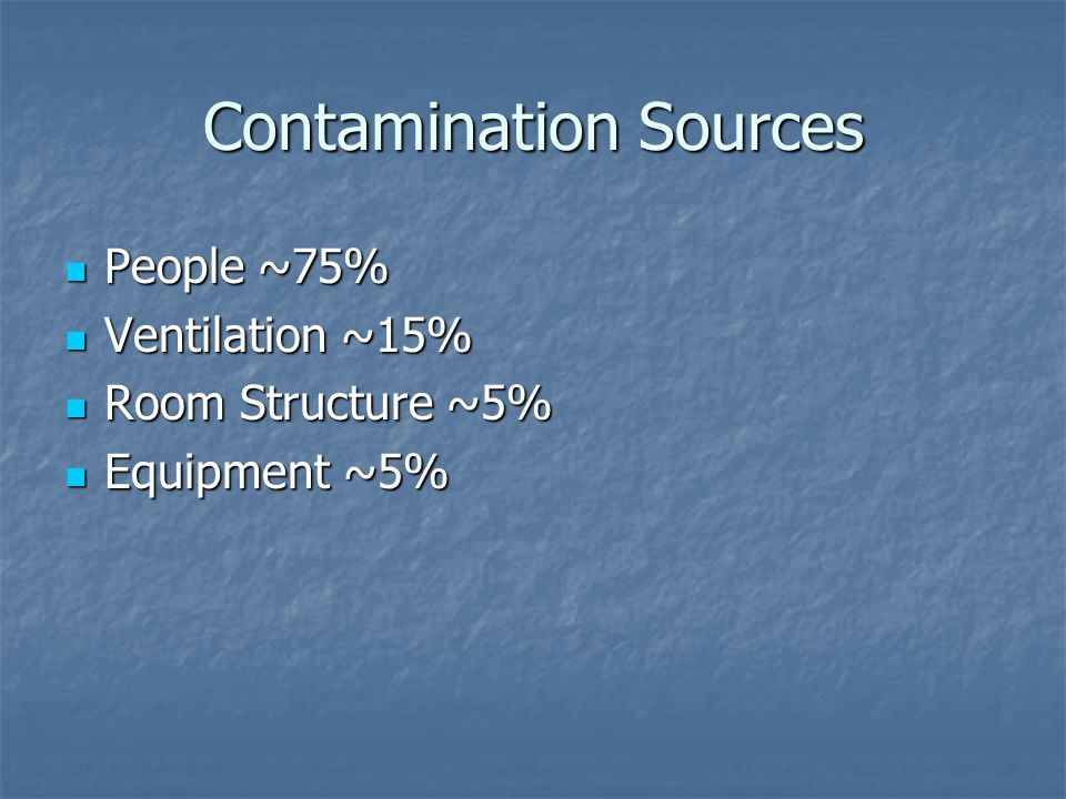 Contamination Sources People ~75% People ~75% Ventilation ~15% Ventilation ~15% Room Structure ~5% Room Structure ~5% Equipment ~5% Equipment ~5%