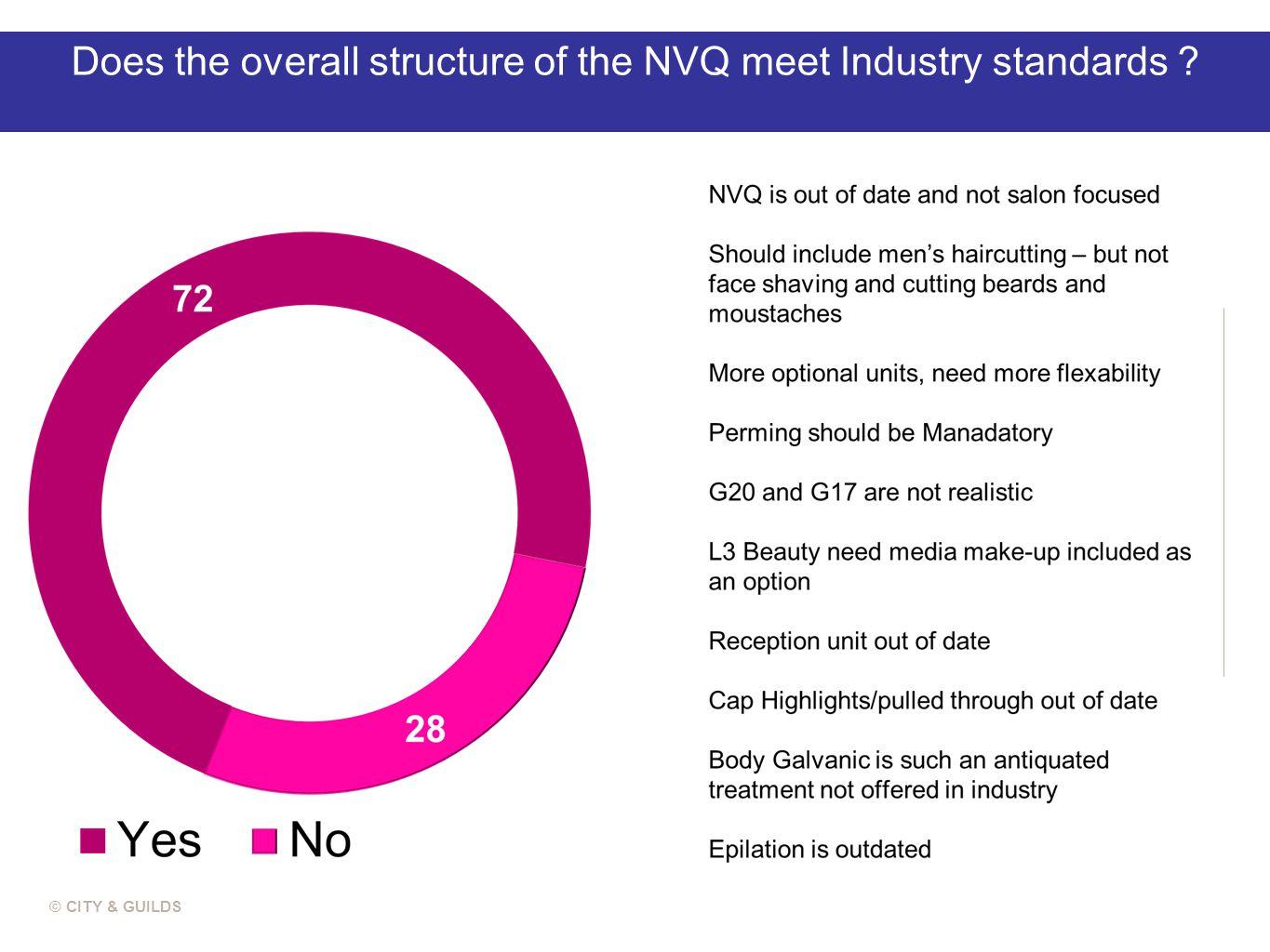 Does the overall structure of the NVQ meet Industry standards ? © CITY & GUILDS