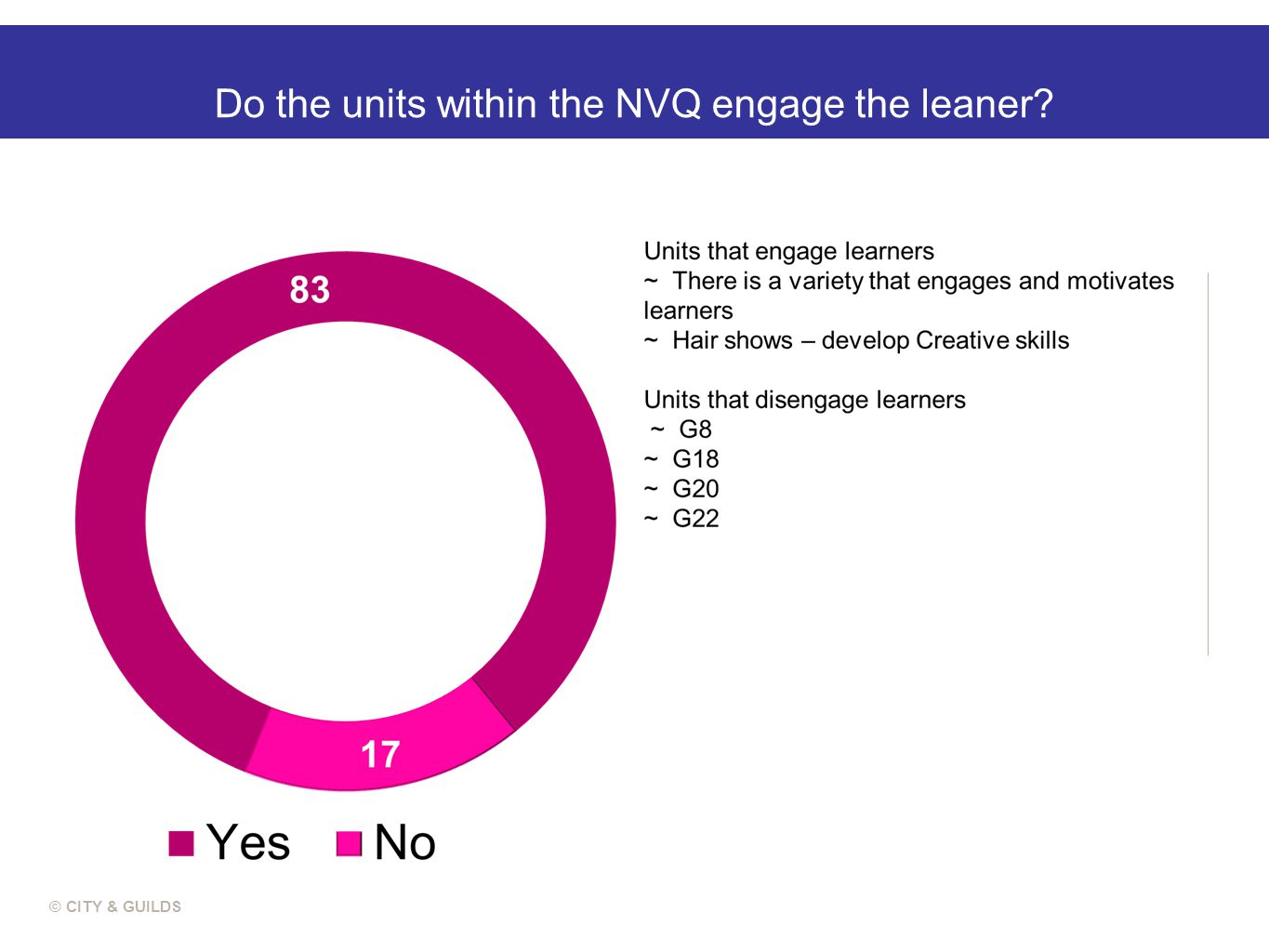 Do the units within the NVQ engage the leaner © CITY & GUILDS
