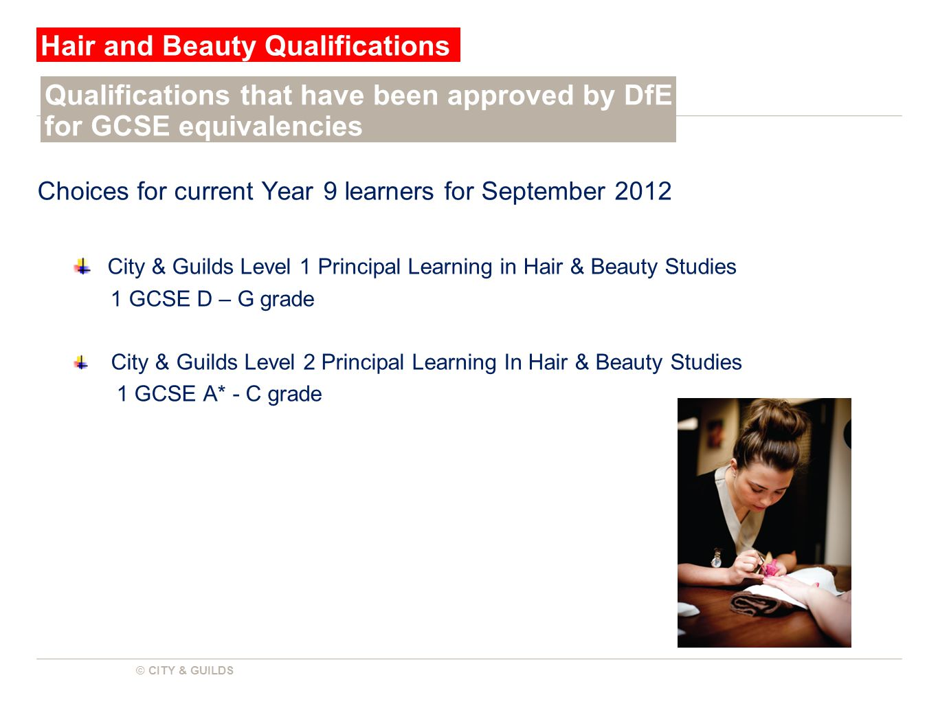 © CITY & GUILDS Choices for current Year 9 learners for September 2012 City & Guilds Level 1 Principal Learning in Hair & Beauty Studies 1 GCSE D – G grade City & Guilds Level 2 Principal Learning In Hair & Beauty Studies 1 GCSE A* - C grade Hair and Beauty Qualifications Qualifications that have been approved by DfE for GCSE equivalencies
