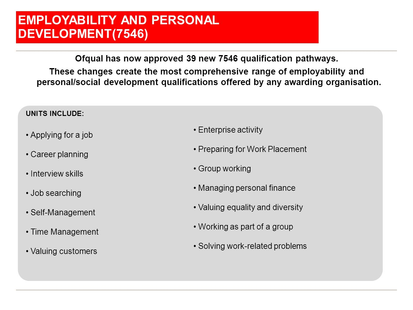 City & Guilds Functional Skills Ofqual has now approved 39 new 7546 qualification pathways. These changes create the most comprehensive range of emplo