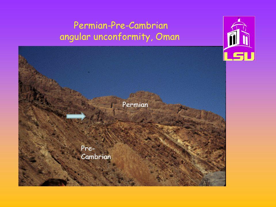 Pre- Cambrian Permian Permian-Pre-Cambrian angular unconformity, Oman