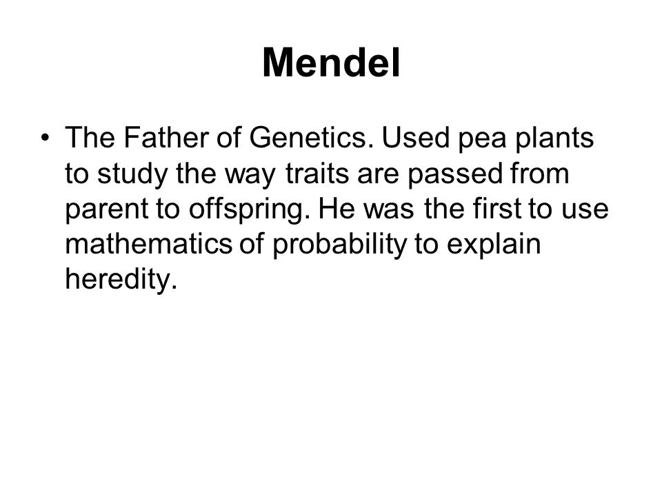 Mendel The Father of Genetics.