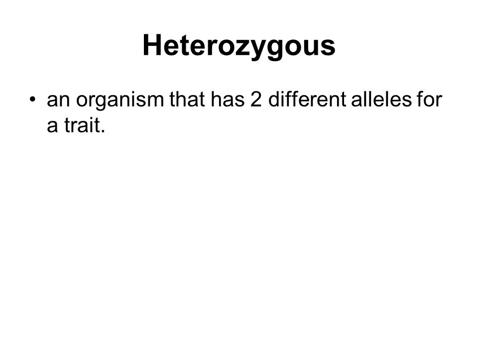 Heterozygous an organism that has 2 different alleles for a trait.