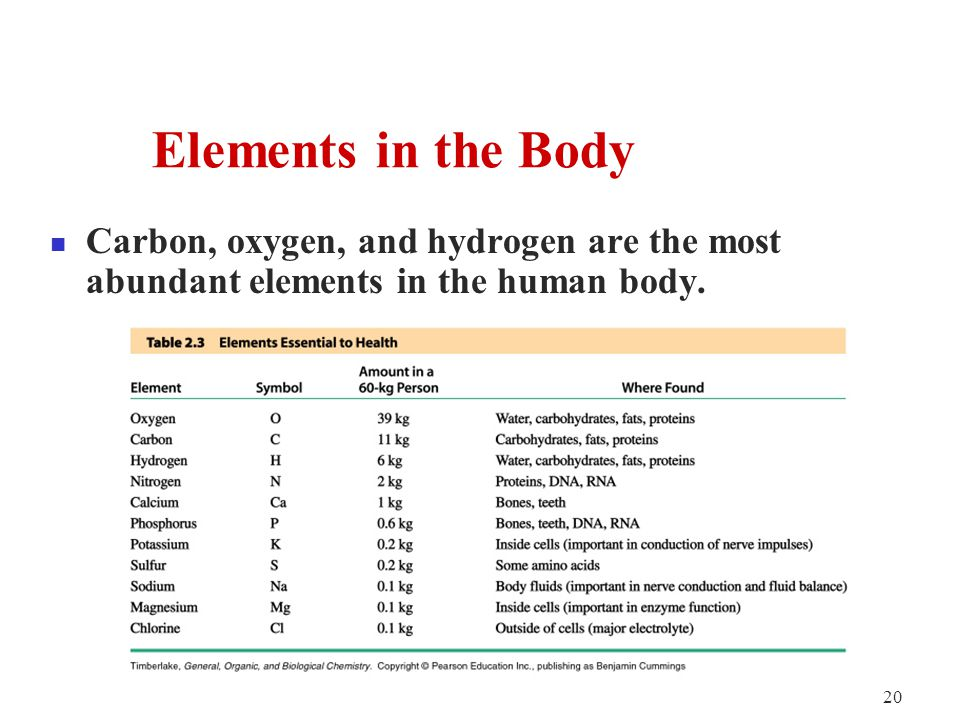 20 Carbon, oxygen, and hydrogen are the most abundant elements in the human body.