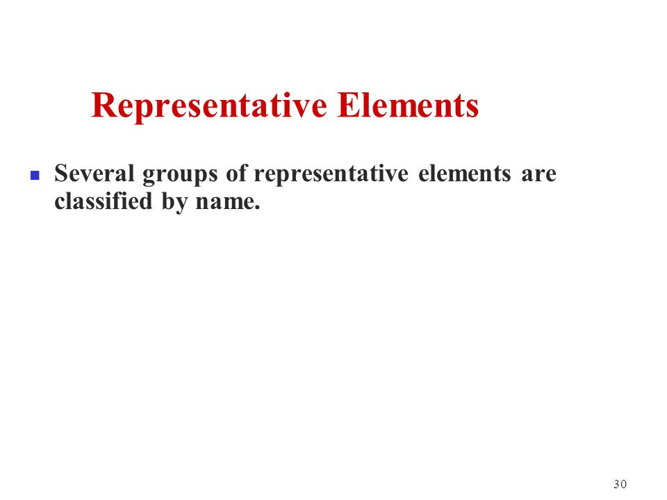 30 Several groups of representative elements are classified by name.