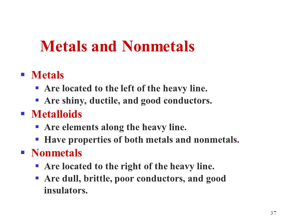 37  Metals  Are located to the left of the heavy line.