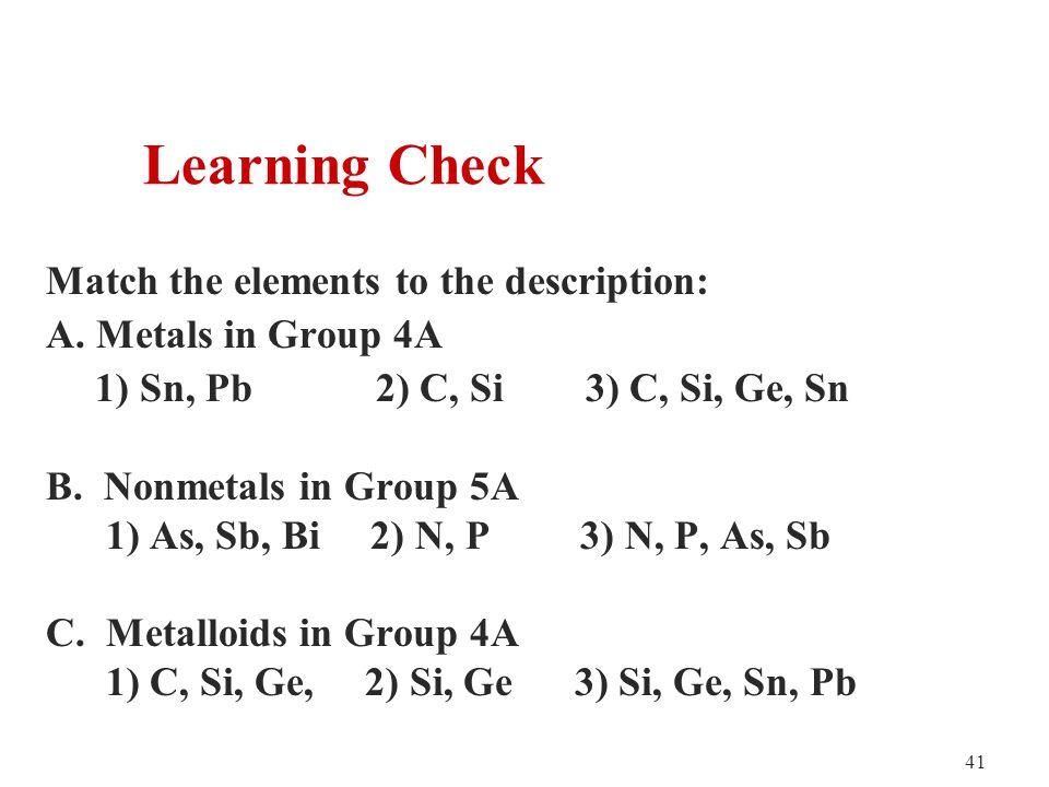 41 Match the elements to the description: A.