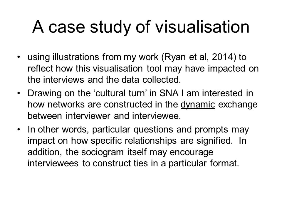 A case study of visualisation using illustrations from my work (Ryan et al, 2014) to reflect how this visualisation tool may have impacted on the interviews and the data collected.