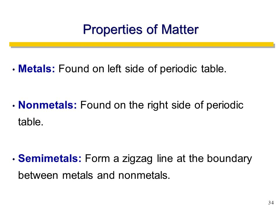 34 Metals: Found on left side of periodic table.