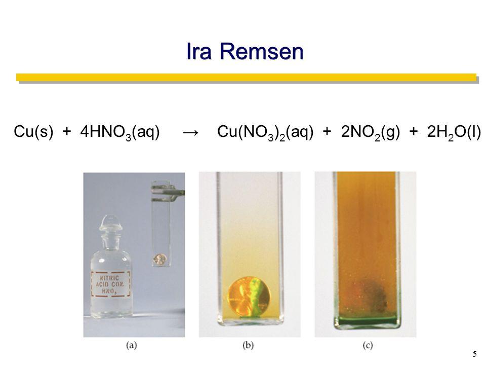 5 Ira Remsen Cu(s) + 4HNO 3 (aq) → Cu(NO 3 ) 2 (aq) + 2NO 2 (g) + 2H 2 O(l)