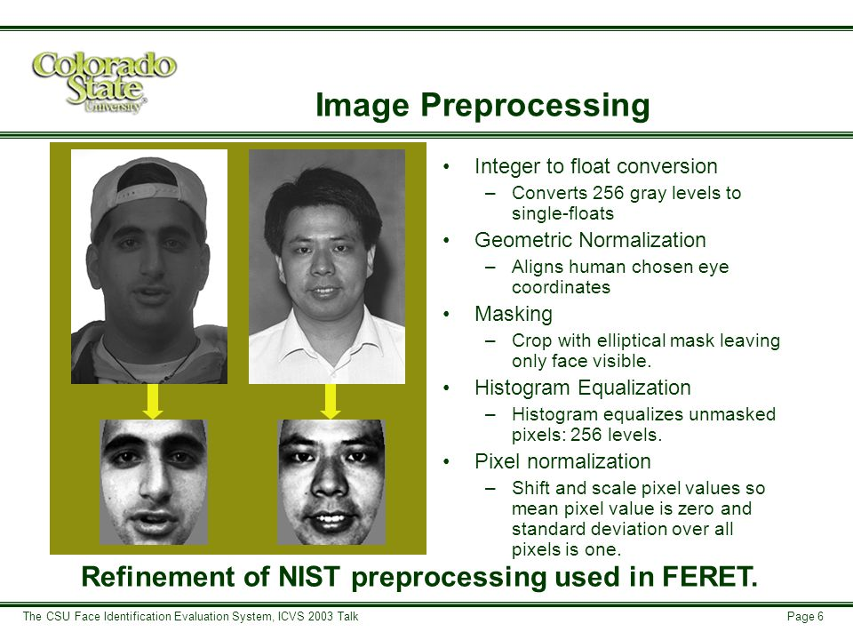 Page 6 The CSU Face Identification Evaluation System, ICVS 2003 Talk Refinement of NIST preprocessing used in FERET.