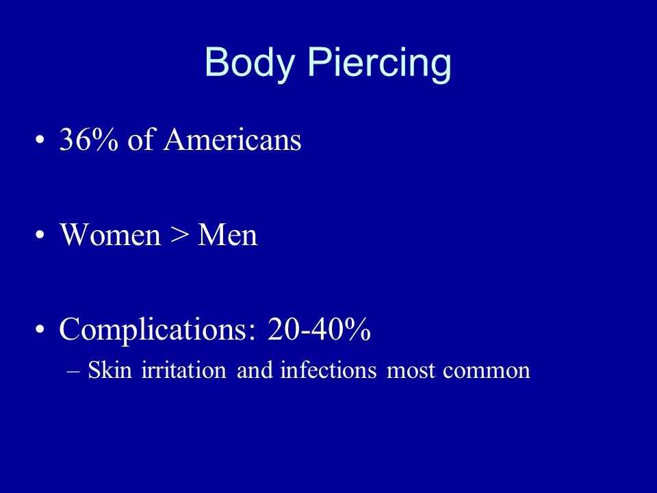 Body Piercing 36% of Americans Women > Men Complications: 20-40% –Skin irritation and infections most common