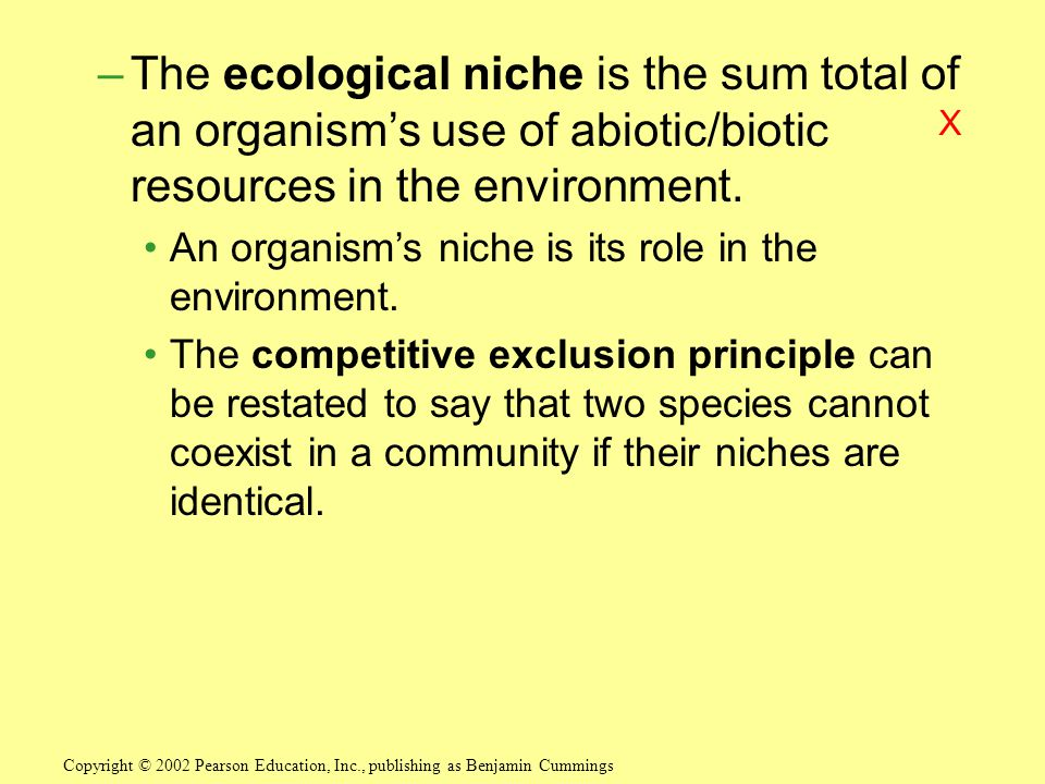 –The ecological niche is the sum total of an organism's use of abiotic/biotic resources in the environment.