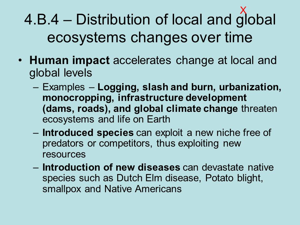4.B.4 – Distribution of local and global ecosystems changes over time Human impact accelerates change at local and global levels –Examples – Logging, slash and burn, urbanization, monocropping, infrastructure development (dams, roads), and global climate change threaten ecosystems and life on Earth –Introduced species can exploit a new niche free of predators or competitors, thus exploiting new resources –Introduction of new diseases can devastate native species such as Dutch Elm disease, Potato blight, smallpox and Native Americans X