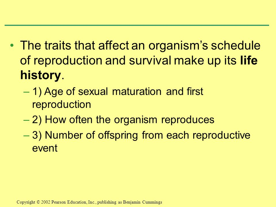 The traits that affect an organism's schedule of reproduction and survival make up its life history.