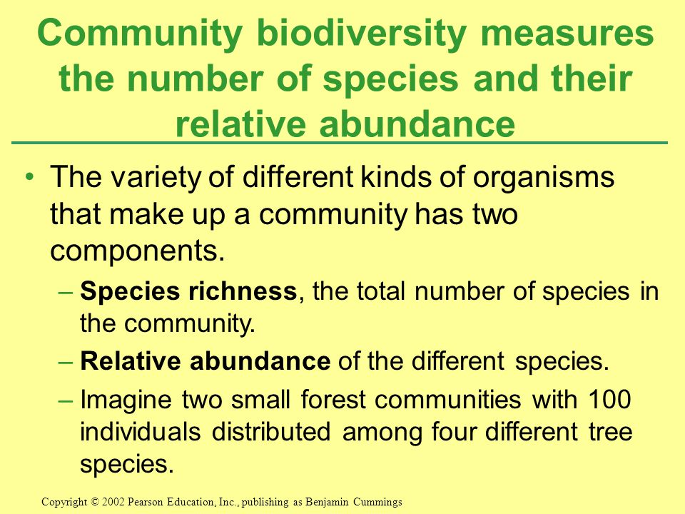 The variety of different kinds of organisms that make up a community has two components.
