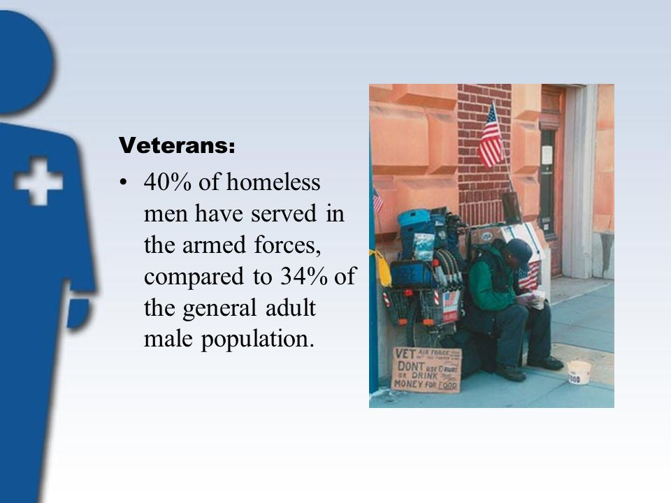 Veterans : 40% of homeless men have served in the armed forces, compared to 34% of the general adult male population.