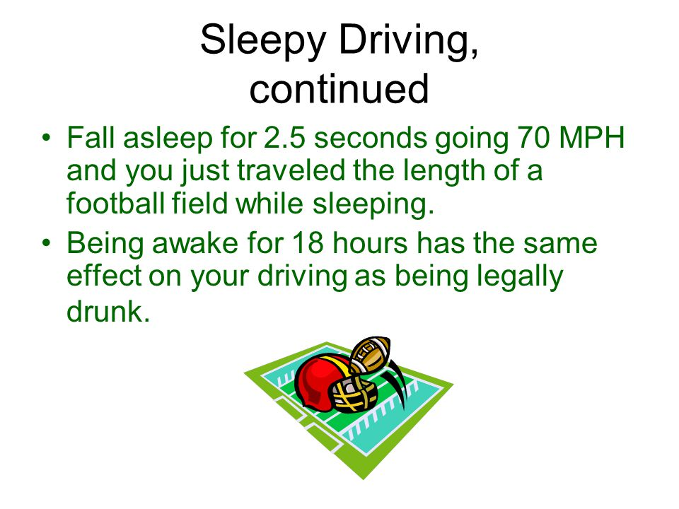 Sleepy Driving… 100,000 reported crashes per year as a result of drowsiness.
