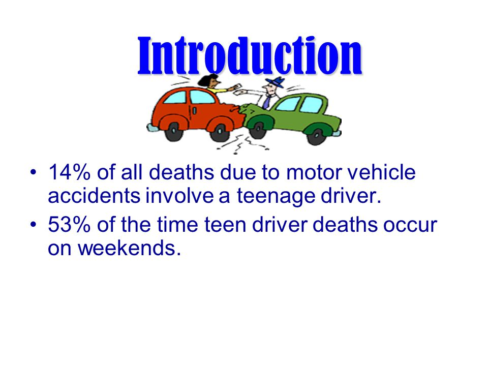 Introduction Motor vehicle crashes are the leading cause of death for 16-20 year olds.