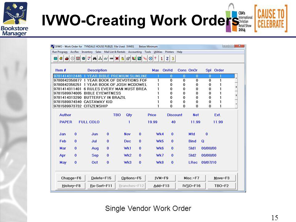 IVWO-Creating Work Orders 15 Single Vendor Work Order