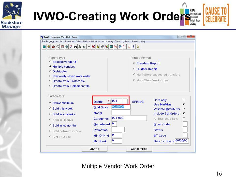 IVWO-Creating Work Orders 16 Multiple Vendor Work Order