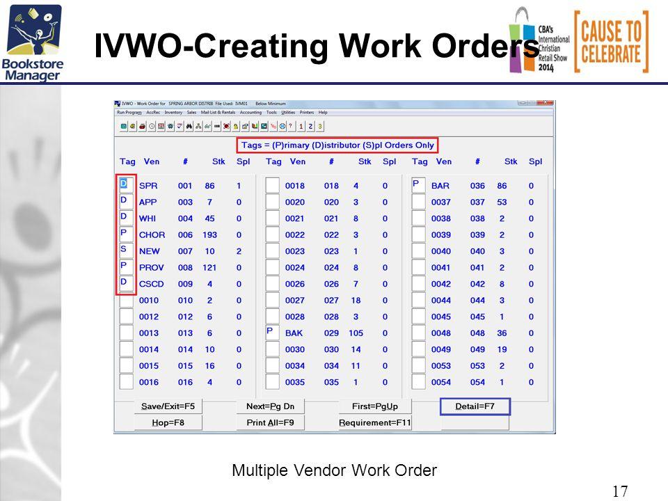 IVWO-Creating Work Orders 17 Multiple Vendor Work Order