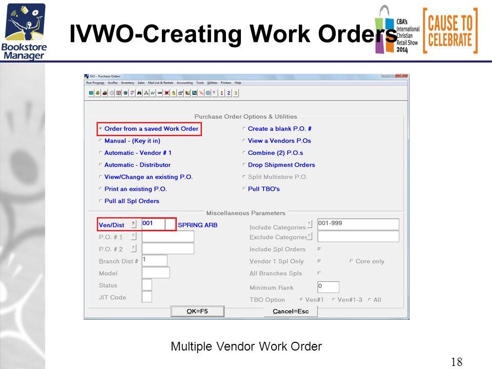IVWO-Creating Work Orders 18 Multiple Vendor Work Order