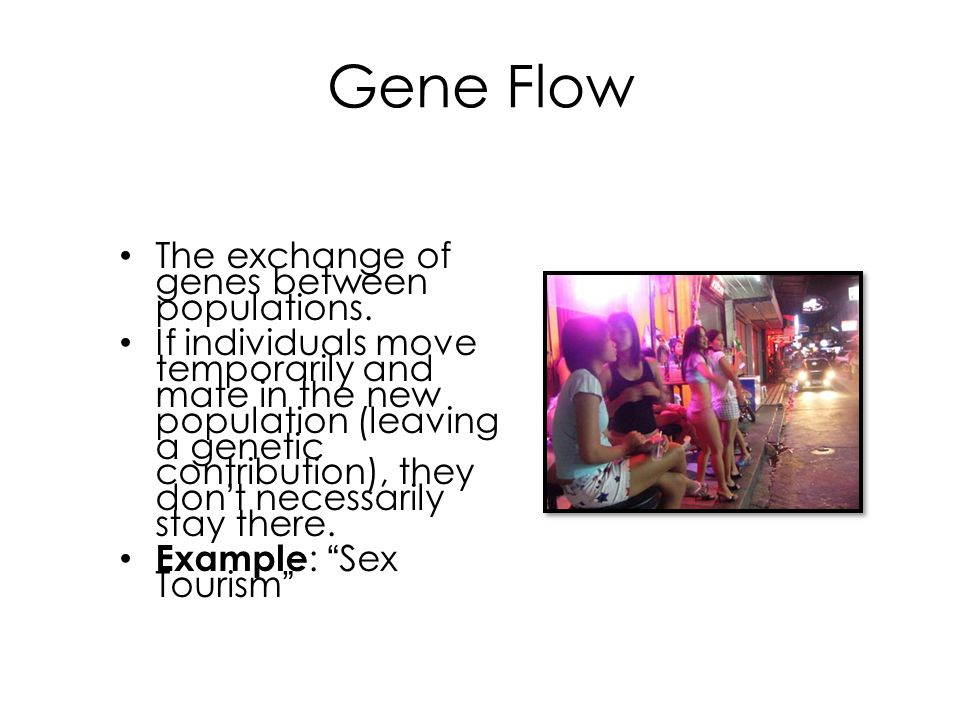Gene Flow The exchange of genes between populations. If individuals move temporarily and mate in the new population (leaving a genetic contribution),
