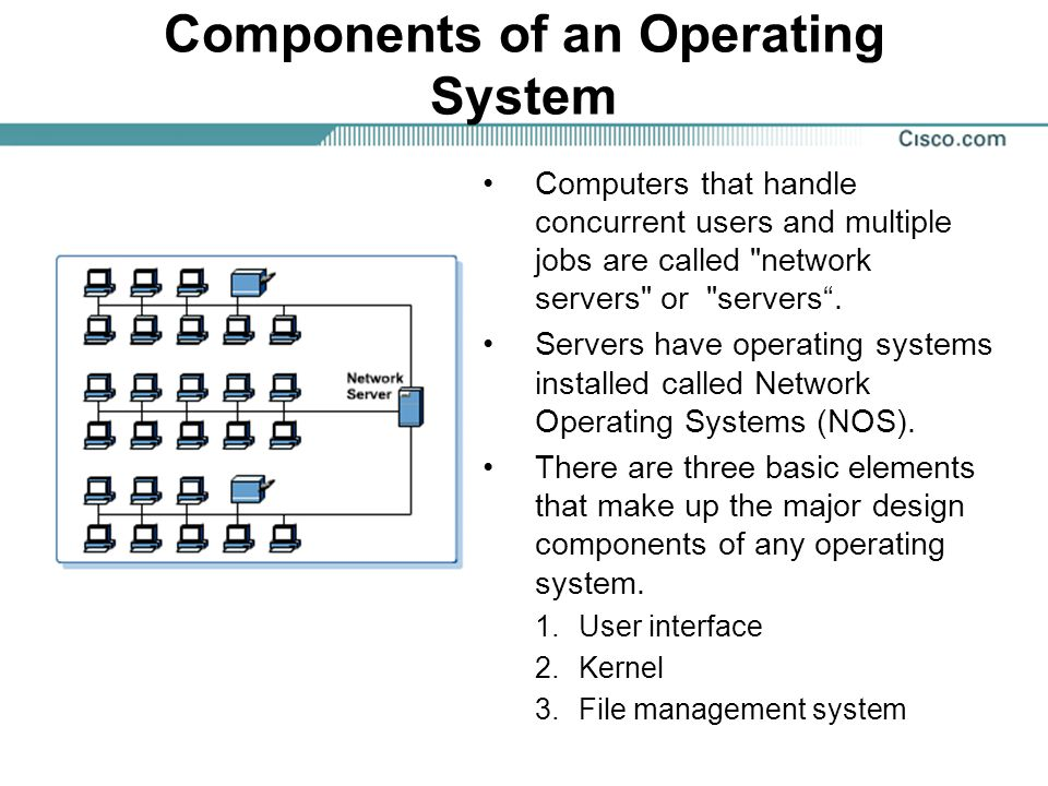 Components of an Operating System Computers that handle concurrent users and multiple jobs are called network servers or servers .