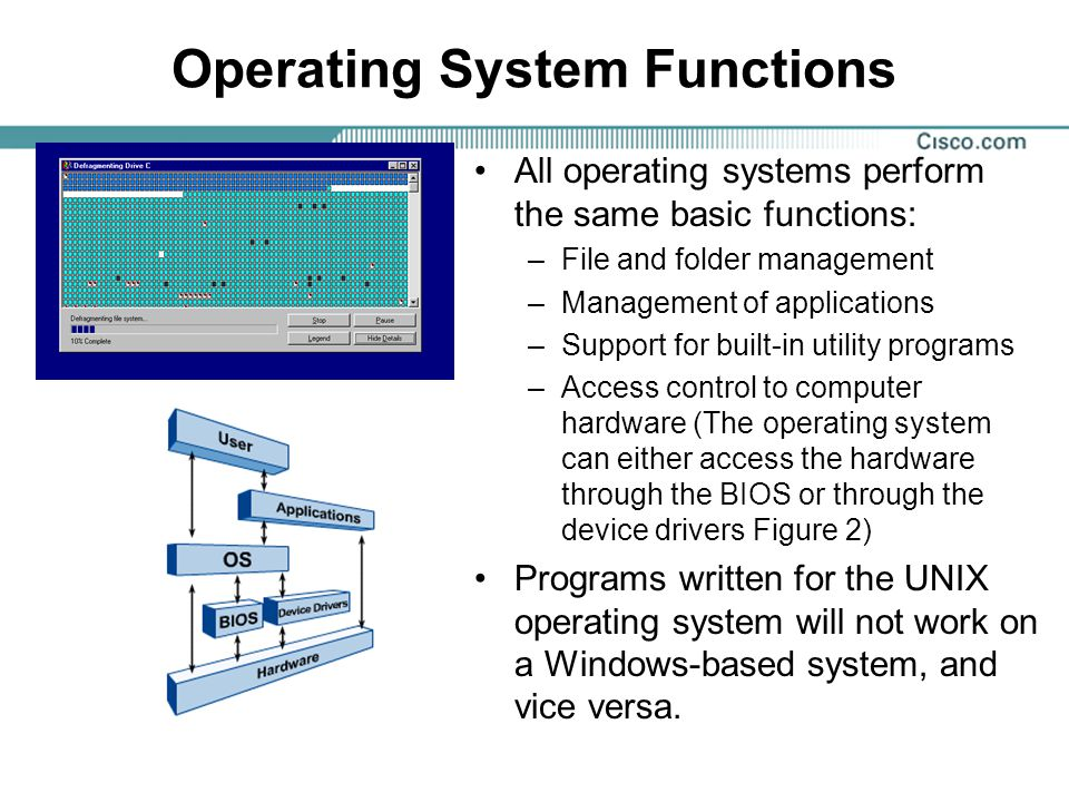 Operating System Types - Basic Terminology The following terms are often used when comparing operating systems: –Multi-user –Multi-tasking –Multi-processing –Multi-threading A list of some of the most popular operating systems: –Microsoft Windows 95, 98, ME –Microsoft Windows NT/2000/XP –The Macintosh OS –UNIX