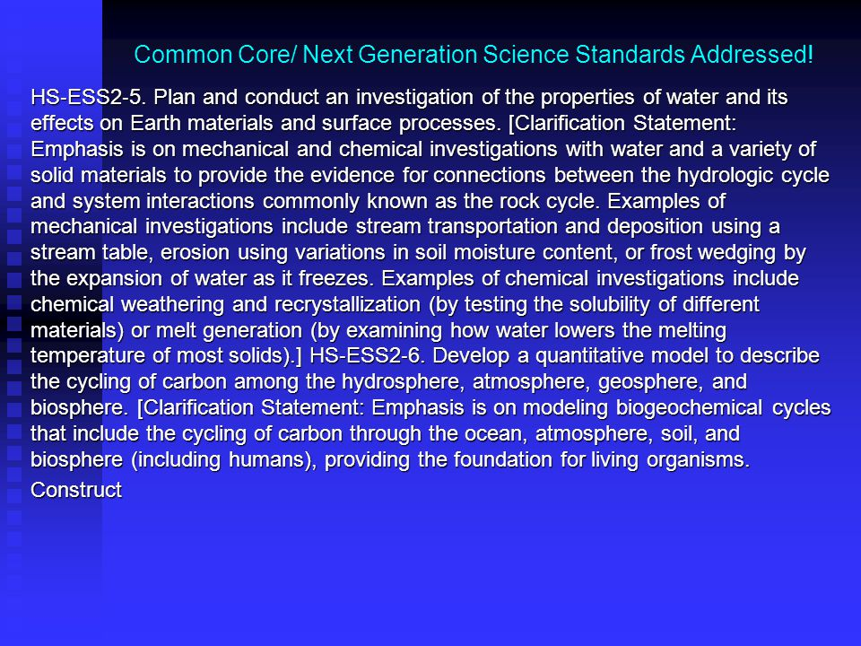 Common Core/ Next Generation Science Standards Addressed.