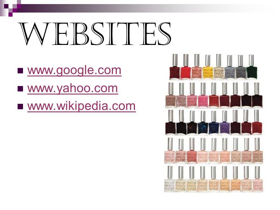 websites www.google.com www.yahoo.com www.wikipedia.com