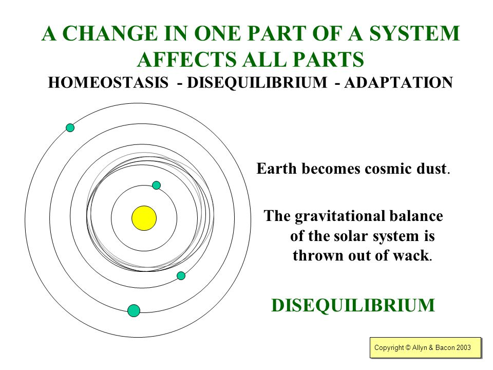 Copyright © Allyn & Bacon 2003 A CHANGE IN ONE PART OF A SYSTEM AFFECTS ALL PARTS HOMEOSTASIS - DISEQUILIBRIUM - ADAPTATION What would happen if Earth