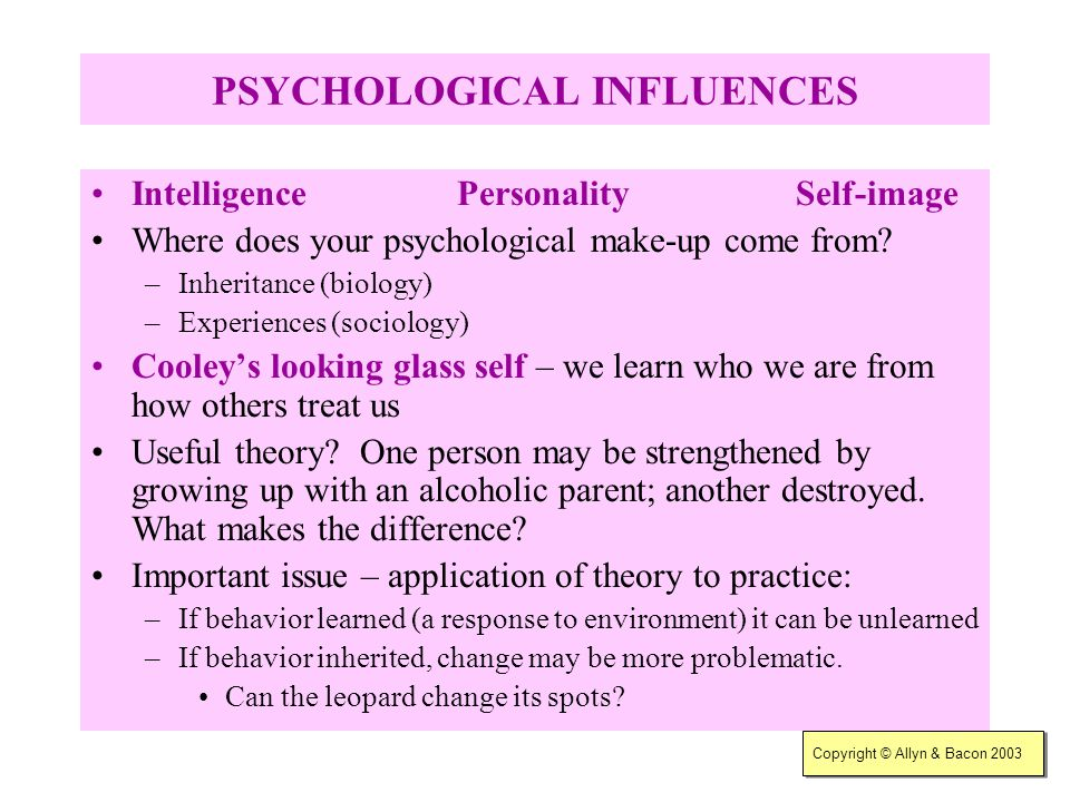 Copyright © Allyn & Bacon 2003 BIOLOGICAL INFLUENCES Common biological factors: –Physical appearance; sex; race; age; abilities or disabilities; famil