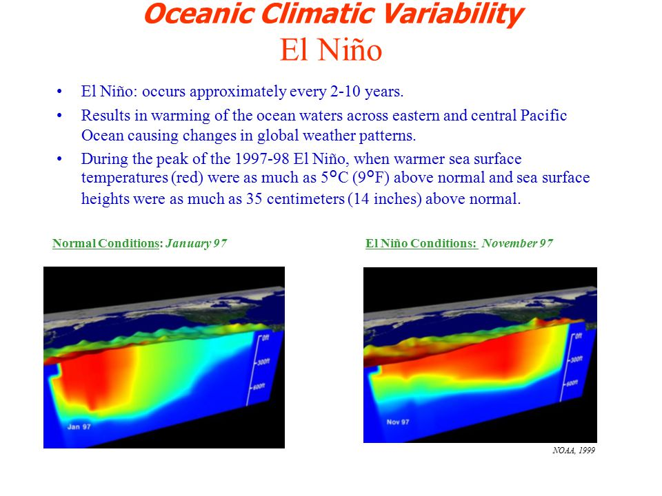 Oceanic Climatic Variability El Niño El Niño: occurs approximately every 2-10 years.