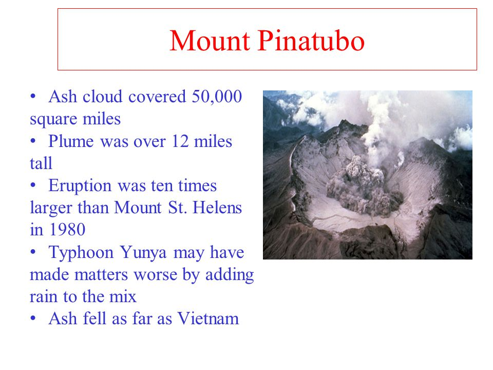 Mount Pinatubo Ash cloud covered 50,000 square miles Plume was over 12 miles tall Eruption was ten times larger than Mount St.