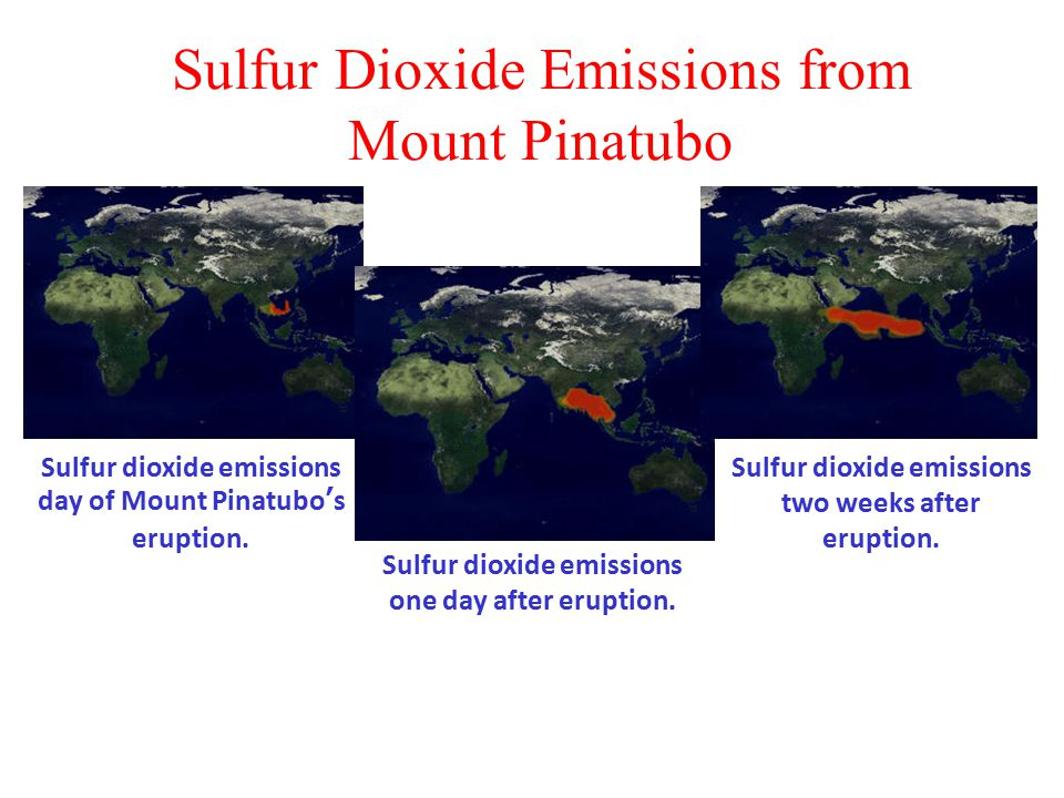 Sulfur Dioxide Emissions from Mount Pinatubo Sulfur dioxide emissions day of Mount Pinatubo's eruption.