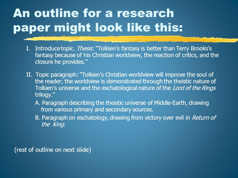 An outline for a research paper might look like this: I.Introduce topic.
