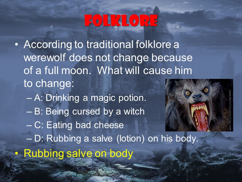 Folklore According to traditional folklore a werewolf does not change because of a full moon.