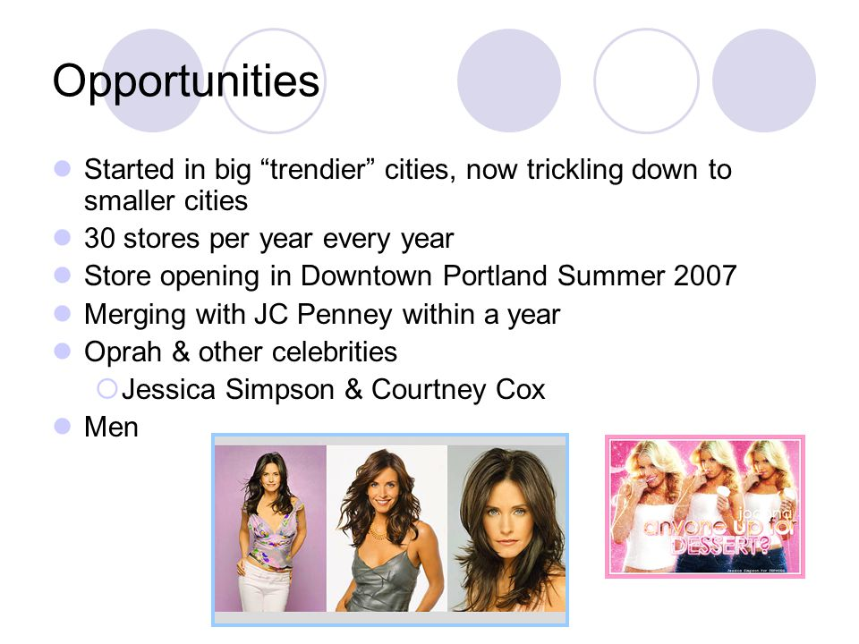 Opportunities Started in big trendier cities, now trickling down to smaller cities 30 stores per year every year Store opening in Downtown Portland Summer 2007 Merging with JC Penney within a year Oprah & other celebrities  Jessica Simpson & Courtney Cox Men