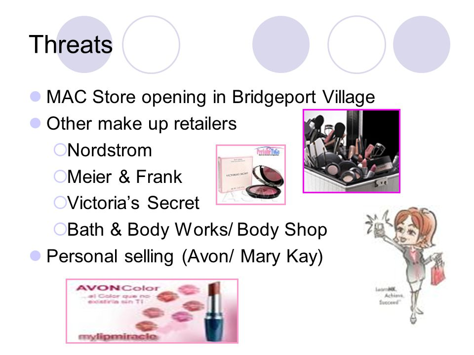 Threats MAC Store opening in Bridgeport Village Other make up retailers  Nordstrom  Meier & Frank  Victoria's Secret  Bath & Body Works/ Body Shop Personal selling (Avon/ Mary Kay)