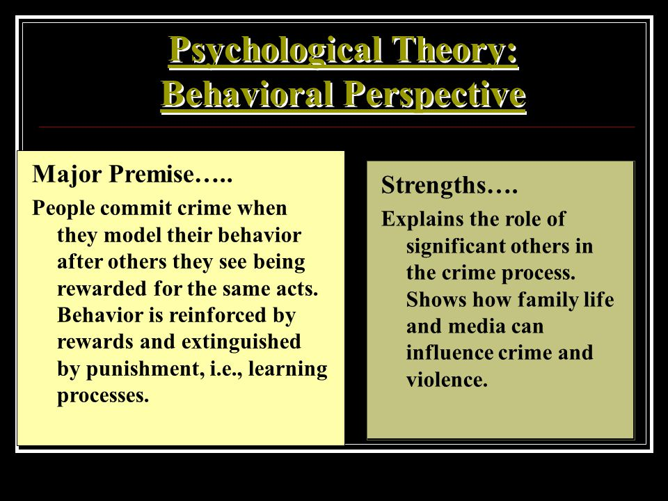 Psychological Theory: Behavioral Perspective Major Premise….. People commit crime when they model their behavior after others they see being rewarded