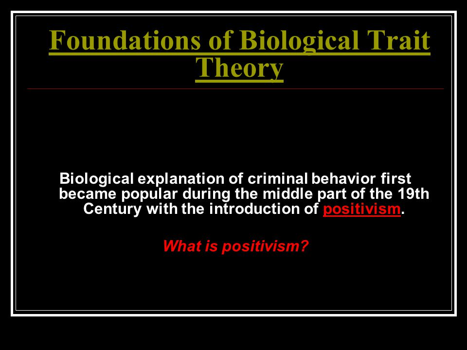 Foundations of Biological Trait Theory Biological explanation of criminal behavior first became popular during the middle part of the 19th Century wit